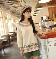 Dropshipping!2014 autumn women t-shirt Folk embroidery Blouse loose plus size women tops
