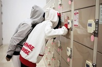 Ladies and Girls Campus Fashion Cute White Minnie and Gray Mickey Ear Hooded Cap Hoodie Zip Front Pocket Pullover Overcoat Tops