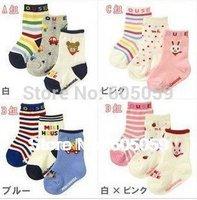 3 Pairs/lot Baby Cotton Socks Kids Unisex Newborn cartoon socks slip-resistant floor socks children soft socks