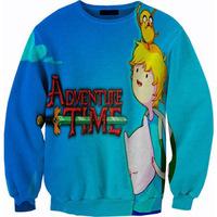 New 2014 Autumn Men women's Spring Sweatshirt pullovers Girl Funny Cartoons 3D digital Print Harajuku Adventure Time Hoody S-G6