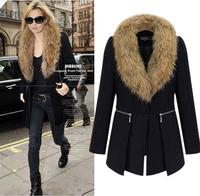 new 2014 winter woman lady wool blends casual Modelled fur zipper woolen coat overcoat loose keep warm plus size XL~6XL