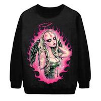 2014 Autumn New Women Fashion Harajuku Angel Devil Sexy digital Print Pullover Punk Sweatshirt Sweater Hoody Dropship S-G58