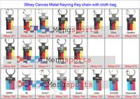 20pcs lots NEW Yellow Blue Canvas Laser engraving Metal Keyring Key Chain
