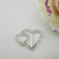 (FL747 inner bar 15mm)20 X Monogram Heart Clear Rhinestone Crystal Buckle For Wedding Ribbon Slider