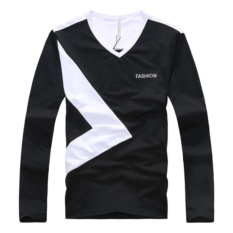 Tops & Tees 2014 new autumn men t shirt long sleeve 100% cotton V neck Full sleeve length tee shirts free shipping(China (Mainland))