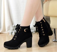 Free Shipping 2014 New Women Pumps,European PU leather boots ladies high heel fashion Motorcycle boots pumps,women shoes