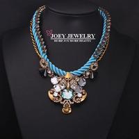 JOEY New Necklace Hot Fashion Luxury Cotton Rope Gem Jewelry Chokers Necklace Pendant  Diamon d Jewelry Free Shipping JA14209