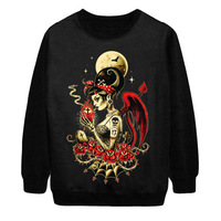 2014 Autumn New Women Fashion Harajuku Moon Demo Bat Skull Punk Digital Print Loose Pullover Sweatshirt Tops Sweater Hoody S-G35