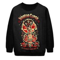 2014 Autumn Winter New Women Fashion Voodoo Curse Skull Punk Digital Print Loose Pullover Sweatshirt Tops Sweater Hoody S-G36