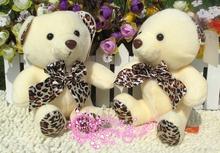 19cm leopard print bowtie teddy bears toys bears doll one set / 20 pieces dolls ,activity gift, birthday gift b9485(China (Mainland))