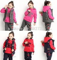 HOT Kids/girls clothing sets children's suit shirt+pants+ vest 3pcs autumn models girls sweater suit new sports kids clothes