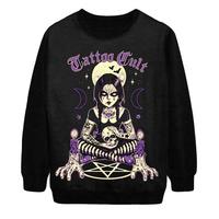2014 Autumn Winter New Women Fashion Voodoo Skull TATTOO cult Punk Digital Print Loose Pullover Sweatshirt Sweater Hoody S-G38