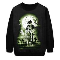 2014 Autumn New Women Fashion Zombie Halloween wear Moon Skulls digital Print Pullover Punk Sweatshirt Sweater Hoody S-G51