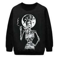 2014 Autumn New Women Fashion Skulls Sexy smoking mummy skeleton digital Print Pullover Punk Sweatshirt Sweater Hoody S-G46