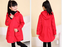 Spring new girls hooded casual jacket , a long section of girls coat, girls fashion cotton jacket