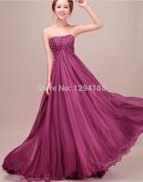 Vestido Beading Prom Chiffon Long Dress Party Evening Elegant Cheap Evening Dress 2014 Lace-up Back Evening gown
