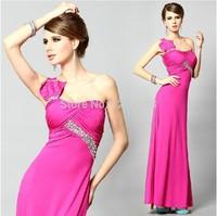 Free Shipping Sexy Women Evening Dresses Crystal One-Shoulder long Strapless chiffon long evening dress