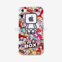 Free Shipping 1PCS,Transparent i am box creative Logo Hard Back Cover Case Skin For iphone 5C