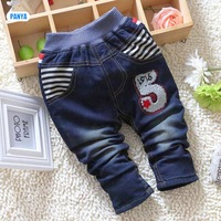 4pc/lot baby winter jeans pants padded kids trousers denim thicken children clothes wholesale PANYA DYF07