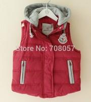 Free shipping 4pcs/lot brand  fashion boys  girls vest hooded children vest  in stock