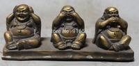 17CM Chinese Buddhism Bronze Three Happy Laugh Maitreya Buddha Statue Set