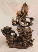 "15"" Chinese Bronze Soild Animal Emperor Royalty Dragon Ball Wealth Baicai Statue"