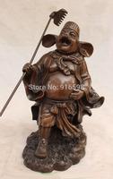 """11"""" Marked China Bronze Pig God Zhu Bajie Wuneng of Famous Xi Youji prong Statue"""