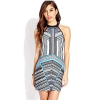 Quality Guarantee Brand New Halter Dresses 2014 Autumn Winters Sexy Bandage Dress Bodycon Printed Gauze Perspective Wholesale