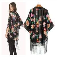 2015 kimonos ladies Vintage Retro Women Ethnic floral tassels Loose Kimono Sunset Chiffon Cardigan Chiffon Blouse Outwear W00362