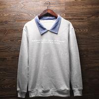 2014 Autumn Men Turn-down Collar Pullover Sweatshirt Good Quality Cotton Long Sleeve Mens Sports Casual Jersey T-shirts M-XL