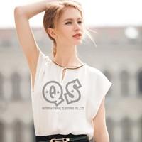 2014 newest fashion concise elegant chiffon short sleeve blouse & shirts batwing sleeve women tops streetwear Q113