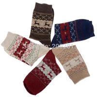 Free Shipping Fashion Karean Styles Lovely Deer Christmas Snowflake Thermal Wool Sock Cashmere Socks For Women