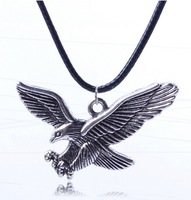 2014 new coming personality  eagle pendant leather cord chain necklace