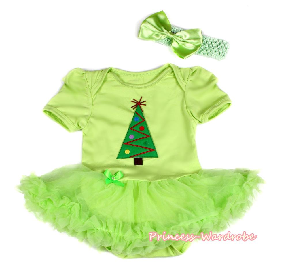 XMAS Girl Christmas Tree Lime Green Bodysuit Lime Green Skirt Baby Dress NB-12M MAJS03188(Hong Kong)