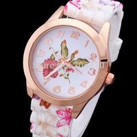 Super Value New Fashion Women Dress Watches Flowers Retro Wristwatches Silicone Strap Luxury Quartz Watch Relojes Sra Flores