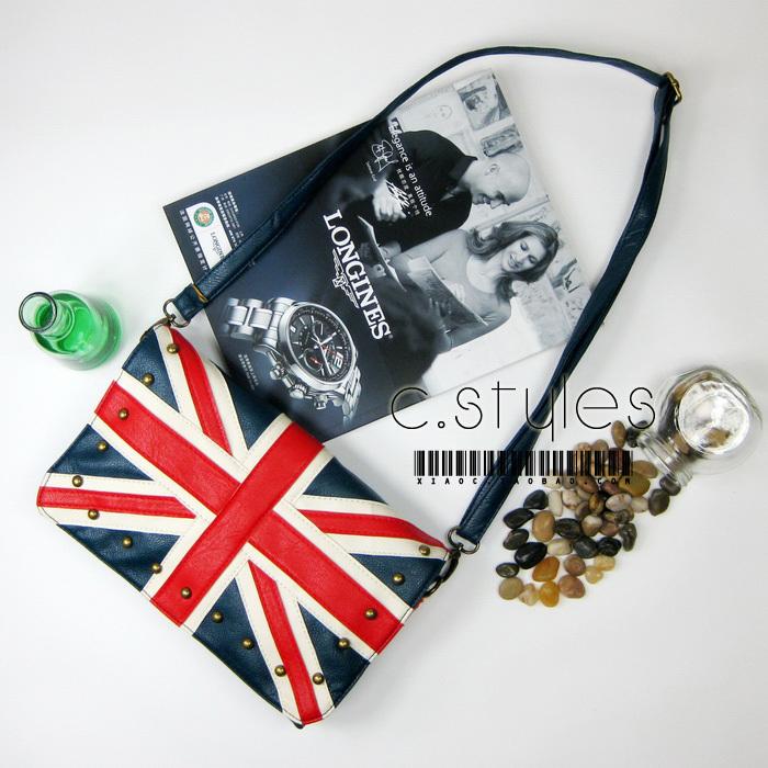 2014 new arrival casual handbag flag bag navy torx flag british rivet shoulder bag messenger bag black and blue free shipping(China (Mainland))