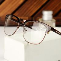 Free shipping 2014 latest fashion men's half-rim glasses frame metal Ms. retro glasses frame plain mirror.