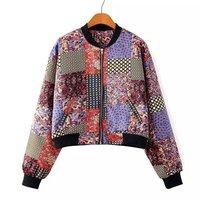 2014 New Women Vintage Floral Prints Contrast Color Long Sleeves Bomber Jacket Ladies Standing Collar Short Coat 3057306804