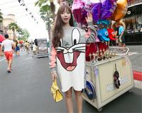 2014 Autum New Women's Fashion Street Style Lazy Oaf Cartoon Rabbit Print Long Sweatshirt Pullovers Casual Hoody