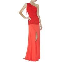 Free Shipping 2013 New Women's Red & black tassel one shoulder Celebrity Bandage dress HL floor length evening party Dresses