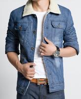 winter jacket 2014 new fashion men brand denim jacket man outdoors lambs wool coat clothing plus size M-3XL jaqueta masculina