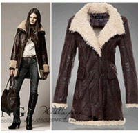 2014 Autumn and Winter Women Coat Woolen Fur suede lambs wool  Leather Jacket Casacos Femininos outwear overcoat