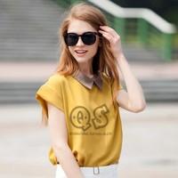 Europe fashion new batwing sleeve street wear women chiffon contrast color blouse & shirts girl tops Q114
