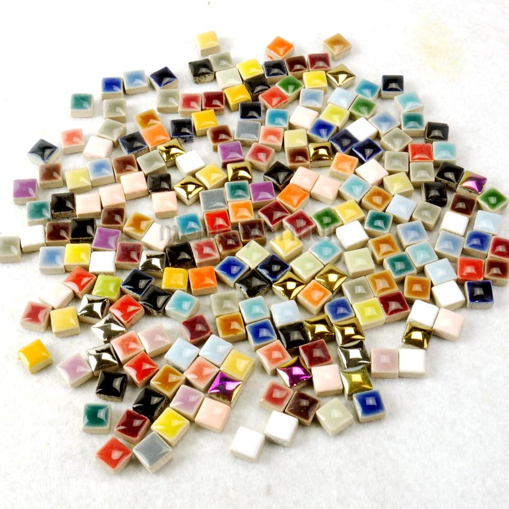 "200+ PCS Micro Ceramic Mosaic Tiles 46 Color Red Green Blue Gold etc Mixture 3/8"" 0.97 For DIY(China (Mainland))"