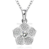 Fashion 925 Sterling Silver Jewelry Women's Necklace Chain Pendant Flower Clear Zircon Crystal N568