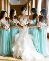 Popular Blue Chiffon Bridesmaids' Dresses 2014 Sweetheart Pleat Floor Length Formal Dresses .
