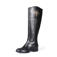 Free Shipping New 2014 Casual all-match knee long tb boots cowhide Genuine Leather round toe boots high-leg boots size 34-41