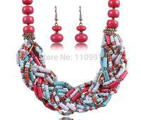 Classic Big Bib Chunky Choker Ethnic Bohemian Bead Chain Statement Necklaces Jewelry Set For Women