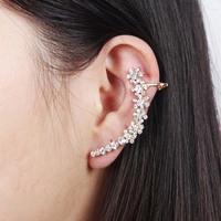Elegant style women's full rhinestone flower earring clip gold plated fashion clip earring cuff wholesale