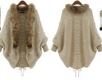 Hot Sale 2014 Fashion Autumn Winter Coat Women Foreign Trade Knitted Cardigan Bat Sleeve Fur Collars Sweater Coat Outwear